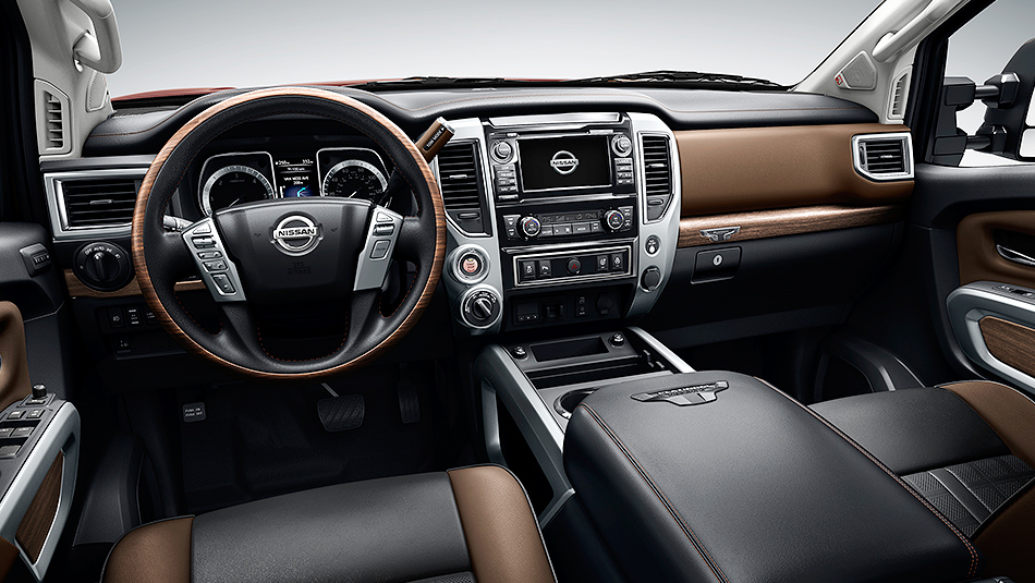 2016-nissan-titan-platinum-reserve-interior-black-brown-leather-steering-wheel